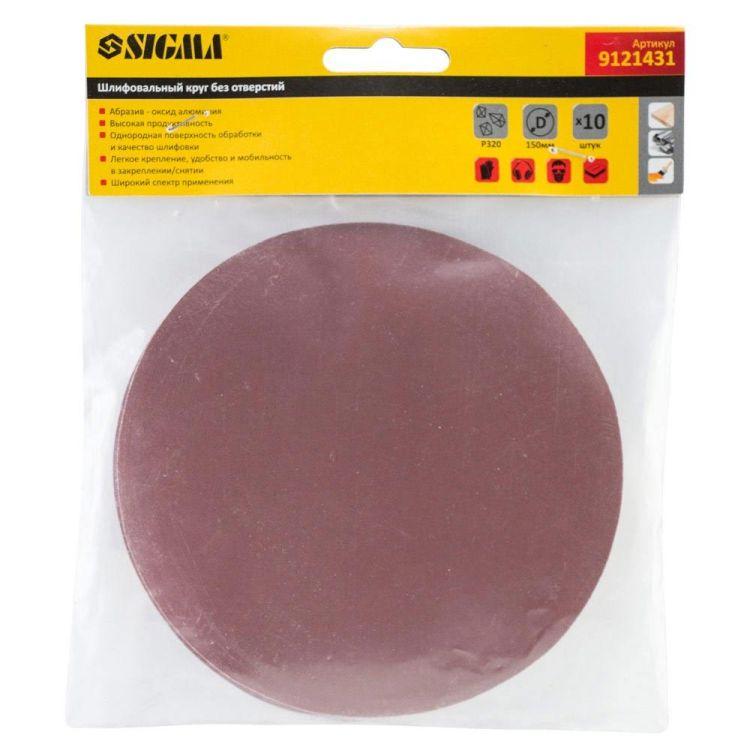 Шлифовальный круг без отверстий Ø150мм P320 (10шт) Sigma (9121431) - 5