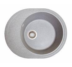 Мийка SOLID Comfy 580*470 сіра зі штучного каменю, з сіфоном