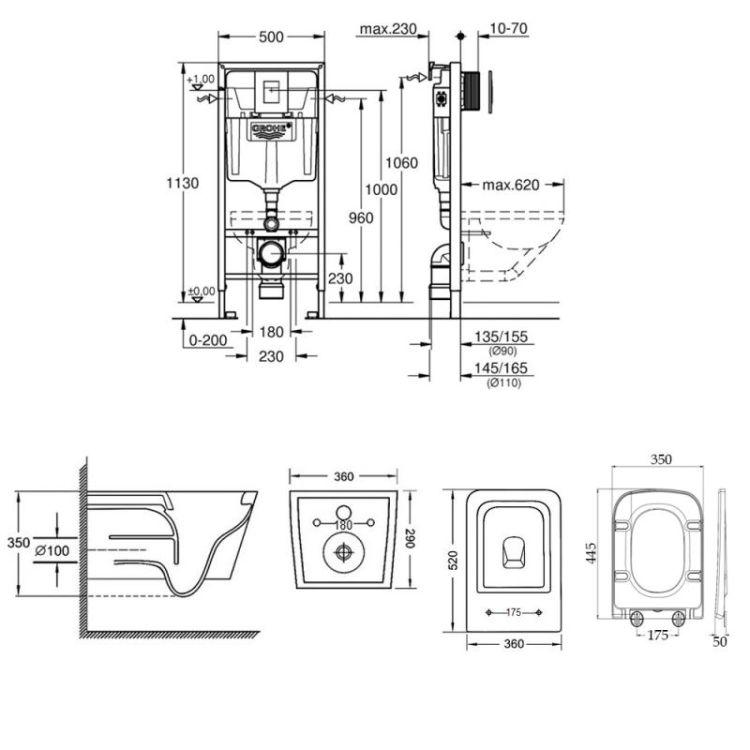 Набір інсталяція 4 в 1 Grohe Rapid SL 38772001 + унітаз з сидінням Qtap Crow QT05335170W - 2