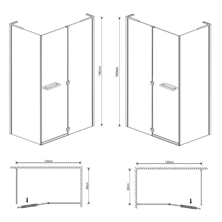 MEGERKA кабіна прямоуг-а 120*80*190см (скла+двері), орні, скло 6мм, права(3коробки) - 2