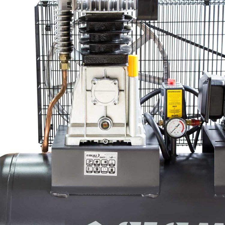 Компрессор ременной двухцилиндровый 380В 2.2кВт 508л/мин 10бар 100л Sigma Refine (7044211) - 4