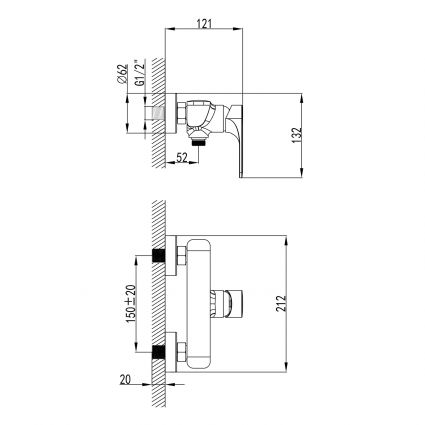 BILINA BN змішувач для душу, нікель, 35 мм - 2