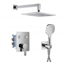 SMART CLICK система душова прихованого монтажу (змішувач для душу, верхній душ 250*250 мм, ручний душ 3 режими, шланг, тримач), хром