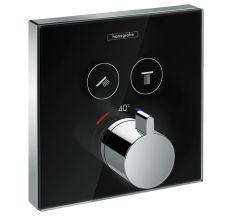 ShowerSelect Термостат  для двух потребителей, стеклянный, СМ черный/хром