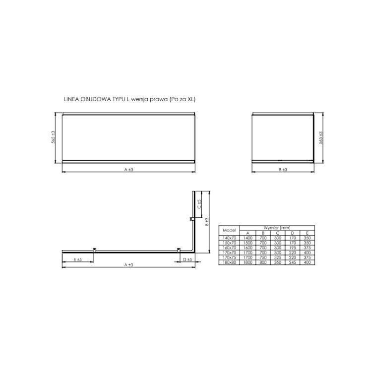 "LINEA ""L"" панель для ванни 1800*800 мм, права - 2"