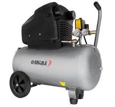 Компресор двоциліндровий безмасляний 2.2 кВт 365л/хв 8бар 50л (2 крана) Sigma (7042311)