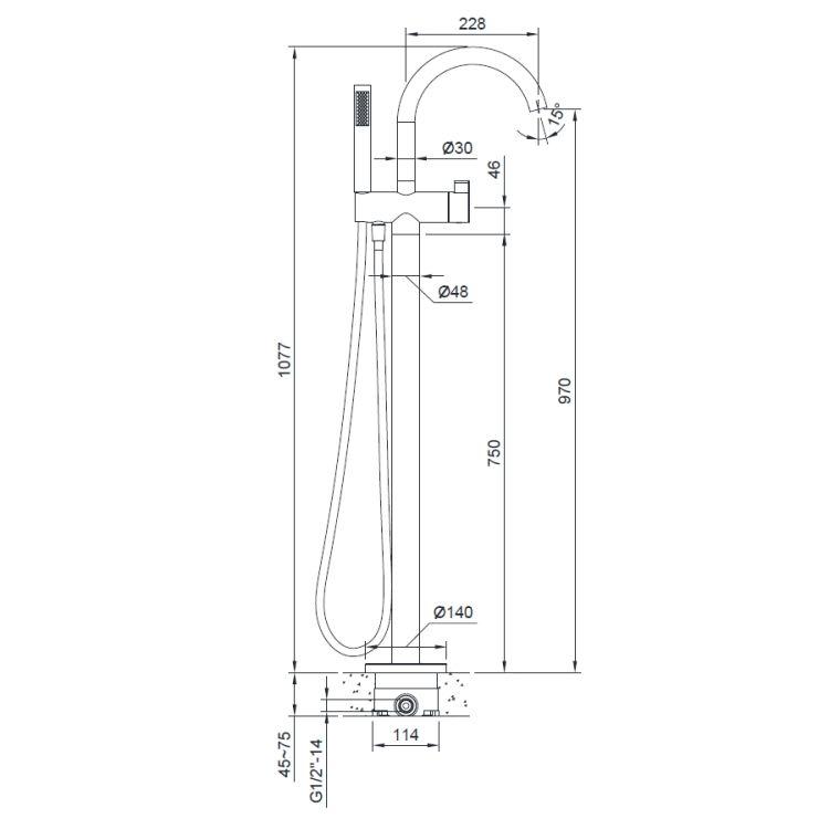 Смеситель для ванны, отдельностоящий, хром, (12-33-100) - 2