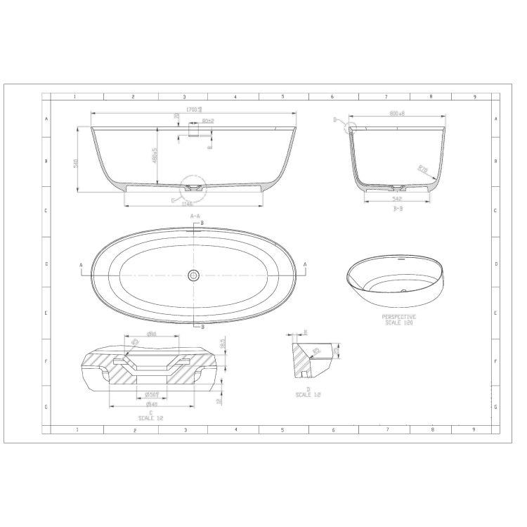 Отдельностоящая Ванна кам'яна 170*80*54см, з переливом та донним клапаном - 2