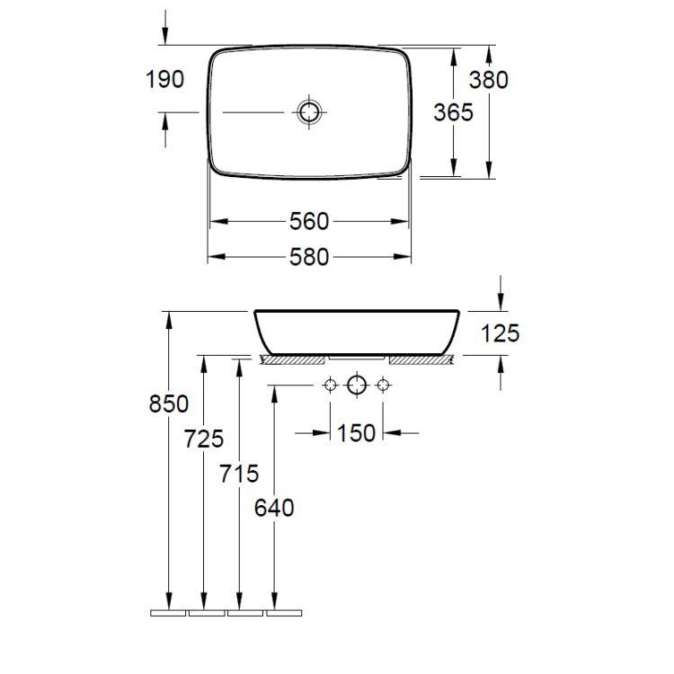 ARTIS умивальник 58*38см на тумбу, без отвору для змішувача, без переливу, білий альпін З+ - 2