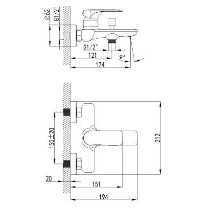 BILINA BN змішувач для ванни, нікель 35мм - 2