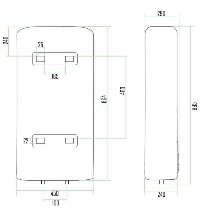 Водонагрівач Thermo Alliance плоский 50 л, 1x(0,8+1,2) кВт DT50V20G(PD)-D - 2