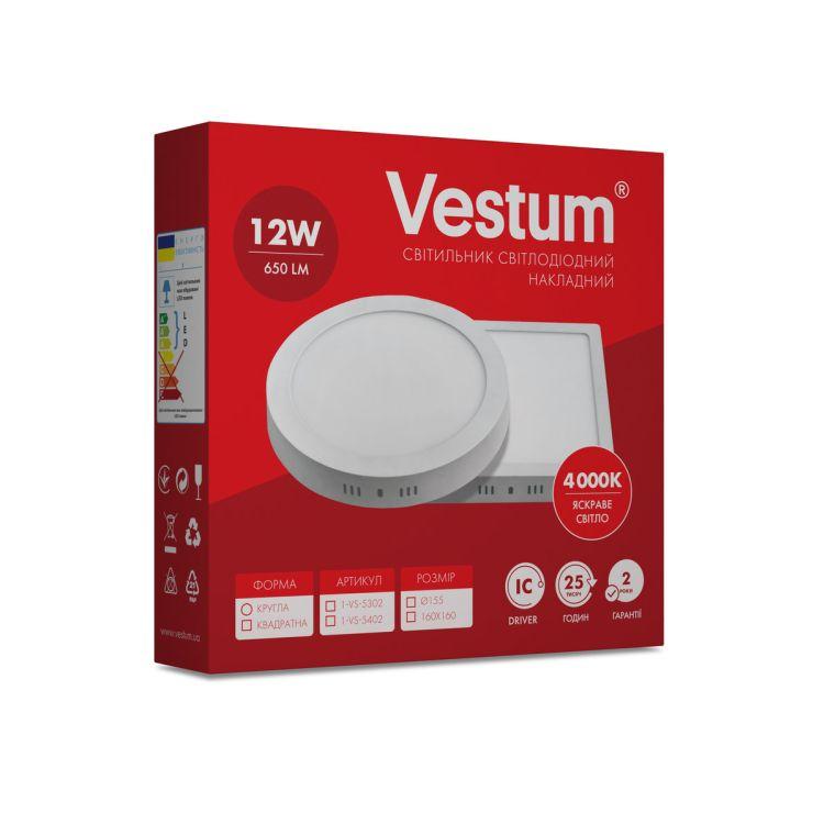 Светильник светодиод 12W 1-VS-5402 LED накладной квадратный Vestum 4000K 220V - 3