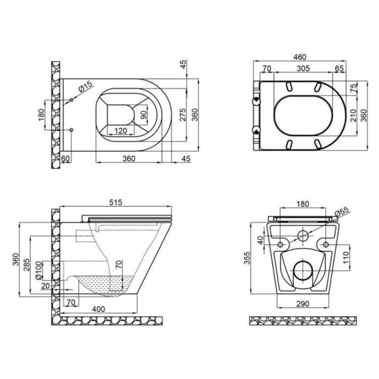 Унітаз підвісний Qtap Scorpio безободковый з сидінням Slim Soft-close QT1433053ERW - 2