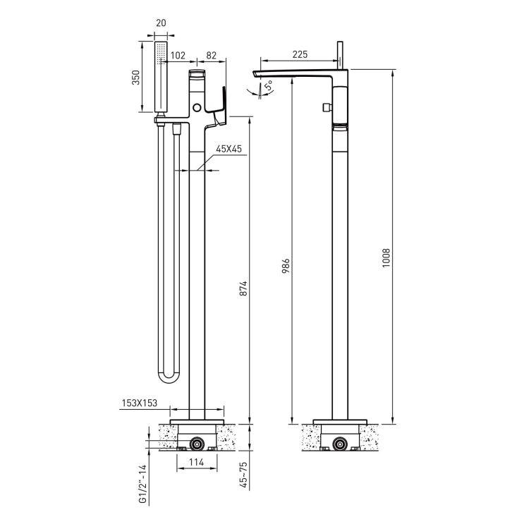 GRAFIKY змішувач для ванни окремостоячий - 2