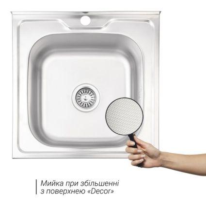 Кухонна мийка Lidz 5050 Decor 0,8 мм (LIDZ5050DEC08) - 3