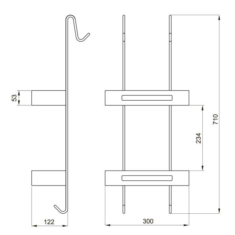 Полочка навесная, двойная с пластиковыми вставками 720*300*137мм, хром - 2