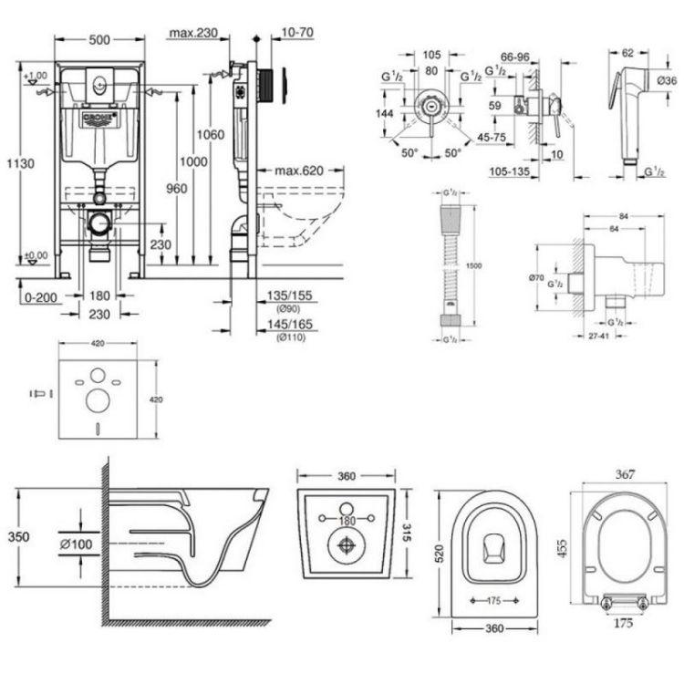 Комплект інсталяція Grohe Rapid SL 38722001 + унітаз з сидінням Qtap Jay QT07335176W + набір для гігієнічного душу зі змішувачем Grohe BauClassic 111048 - 2