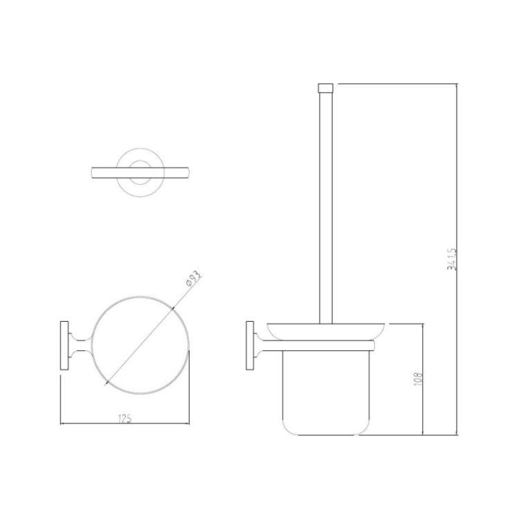Ершик для унитаза настенный Potato P2910 матовое стекло - 2