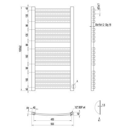 Рушникосушарка водяна Qtap Dias (BLA) P18 HY 1000x500 - 2