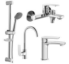 KAMPA 2 набір змішувачів (4 в 1) для ванни та кухні (05285+10285+55285+R670SD+1115+W100SL1C)