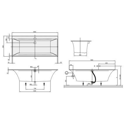 SQUARO EDGE 12 ванна 180*80см, с ножками и сливом-переливом, цвет white alpin - 2