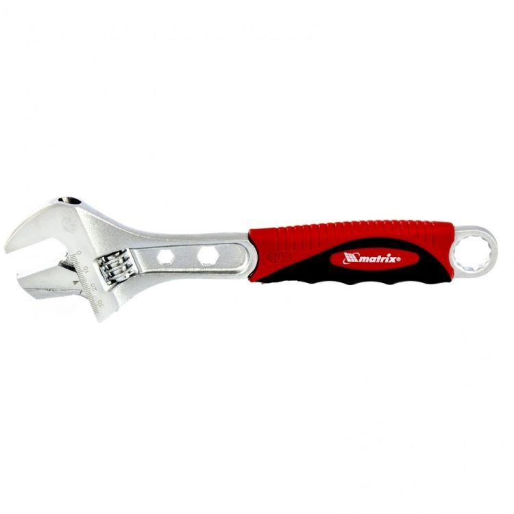 Ключ разводной, 250мм, переставная губка, двухкомпонентная рукоятка MTX 155189 - 1