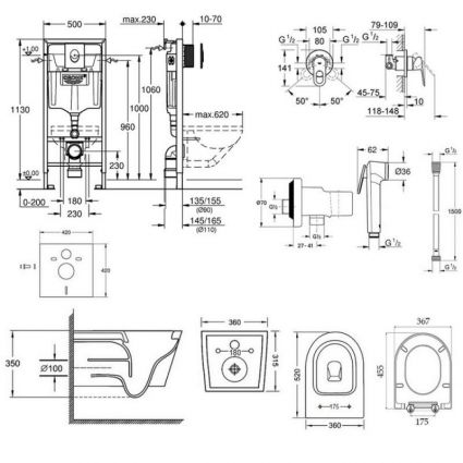Комплект інсталяція Grohe Rapid SL 38721001 + унітаз з сидінням Qtap Jay QT07335176W + набір для гігієнічного душу зі змішувачем Grohe BauLoop 111042 - 2