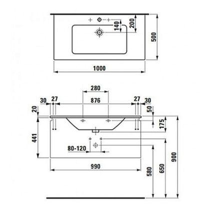 PRO S комплект тумба+умивальник 100*50см (8179670001041+4835310964641), колір білий глянець - 2