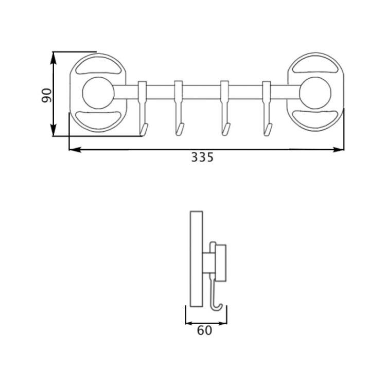 Полотенцедержатель 4 крючка Potato P2914-4 - 2