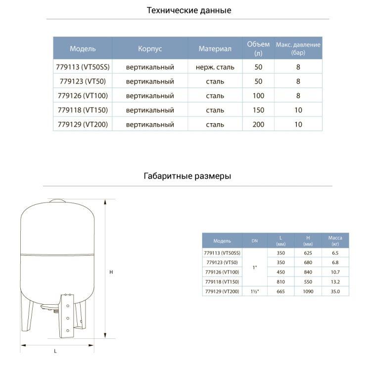 Гідроакумулятор вертикальний 50л (нерж) Aquatica 779113 - 2