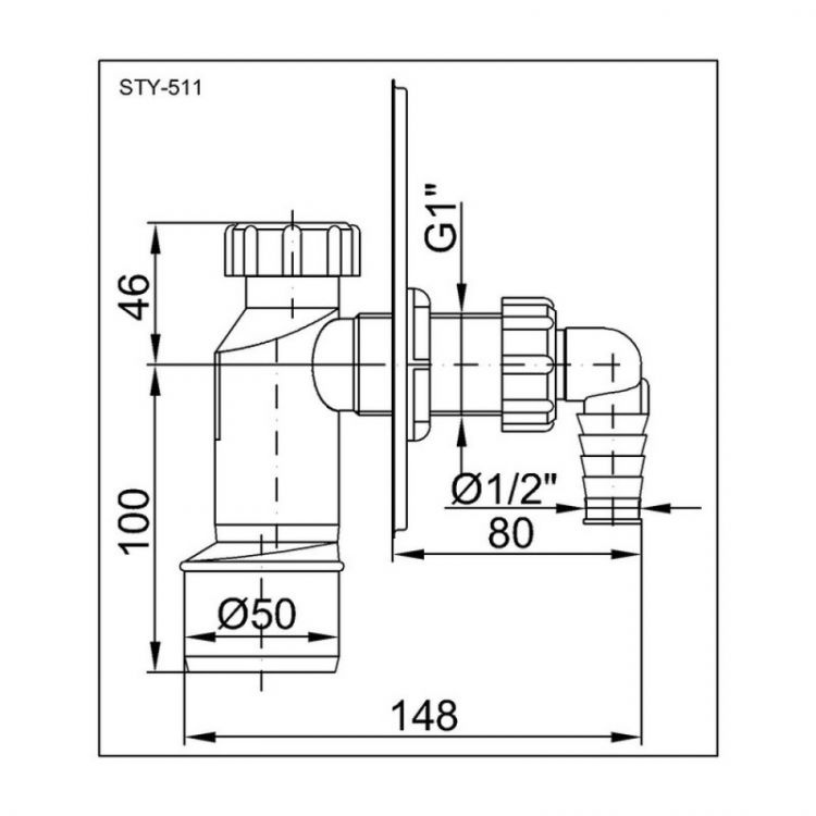 STY-511 Сіфон для прал. машини з накладкою із нерж.сталі Styron - 2