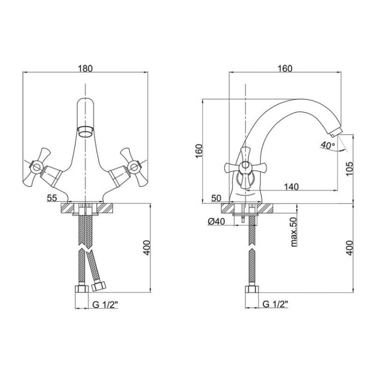 Змішувач для умивальника Lidz (CRM)-30 21 161 00 - 2