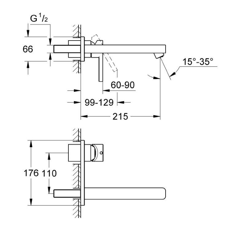 Lineare Змішувач для раковини, одноважільний, настінний, що вбудовується - 2