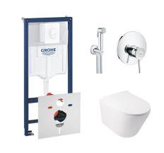 Комплект інсталяція Grohe Rapid SL 38722001 + унітаз з сидінням Qtap Swan QT16335178W + набір для гігієнічного душу зі змішувачем Grohe BauClassic 2904800S