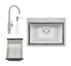 Набір 4 в 1 Qtap D6045 Set кухонна мийка Satin + змішувач для кухні + сушка + дозатор для рідкого мила