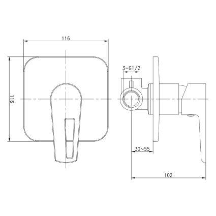 BRECLAV смеситель скрытого монтажа для душа, хром/белый, 35мм - 2