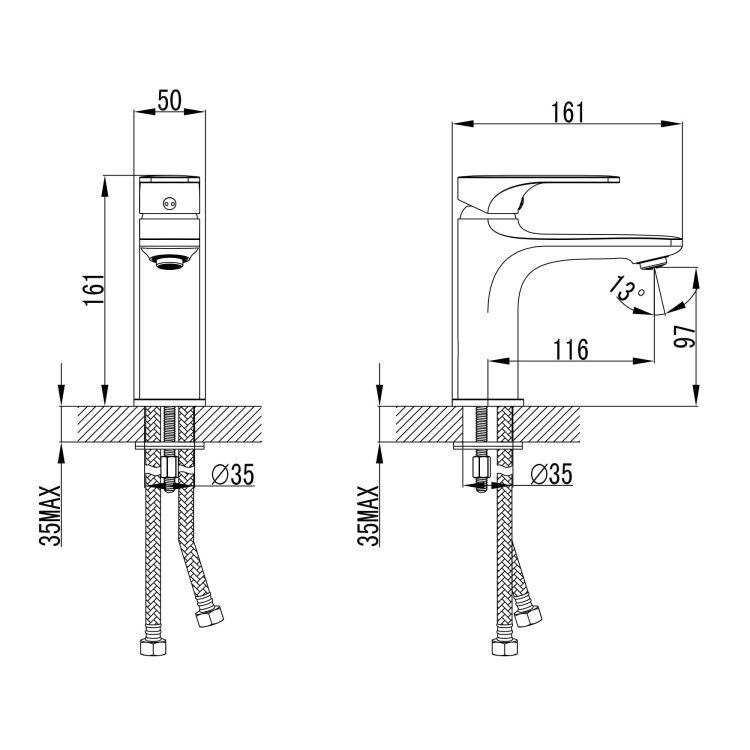BILINA BN змішувач для умивальника, нікель, 35 мм - 2