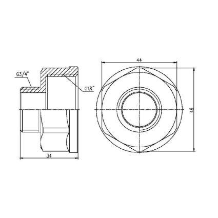 Перехід Forte 1 1/4Вх3/4Н - 2