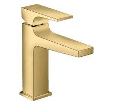 Metropol Змішувач для умивальника 110, одноважільний, з зливним клапаном Push-Open, поліроване золото