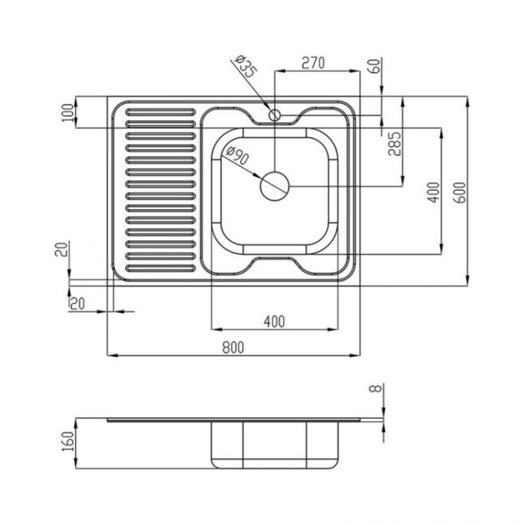 Мойка Imperial 6080 (0,6 мм) (R) права Decor - 2