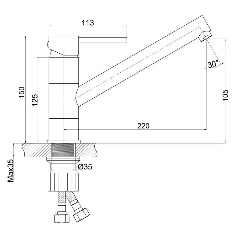 Змішувач для кухні Q-tap Spring 002 CRM - 2