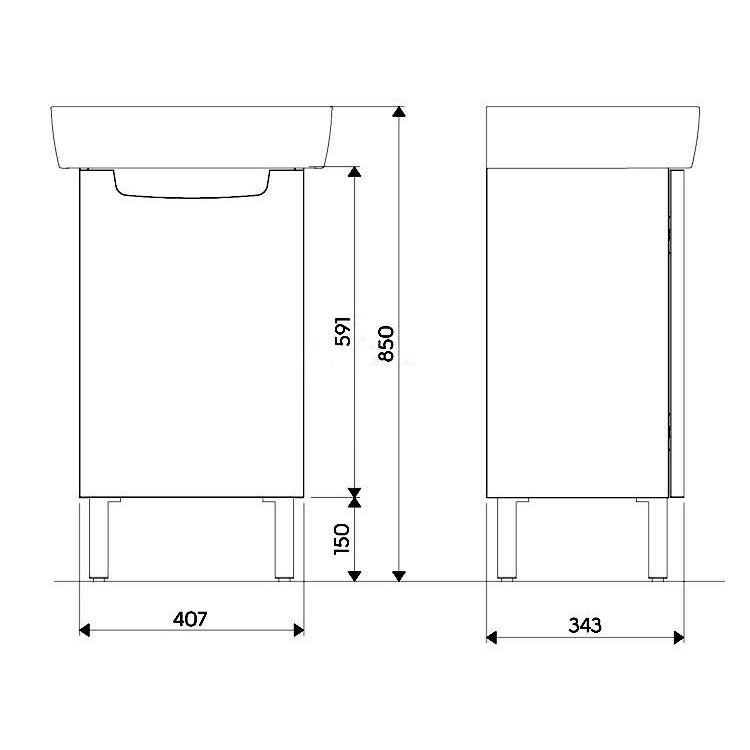 REKORD шафка під умивальник 41,7*59,1*33,7 см, білий глянець (пол) - 2