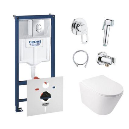 Комплект інсталяція Grohe Rapid SL 38721001 + унітаз з сидінням Qtap Swan QT16335178W + набір для гігієнічного душу зі змішувачем Grohe BauLoop 111042 - 1