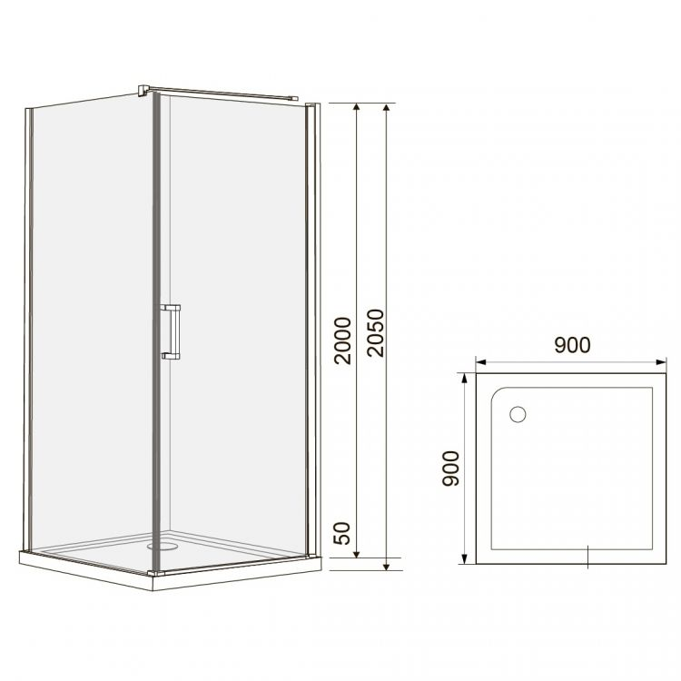 RUDAS душова кабіна квадратна 90*90*205 см, піддон (PUF) 5 см (з сифоном), орні, скло прозоре, права - 2