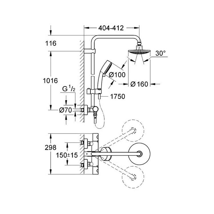 Vitalio Start душова система 160см з термостатом - 2
