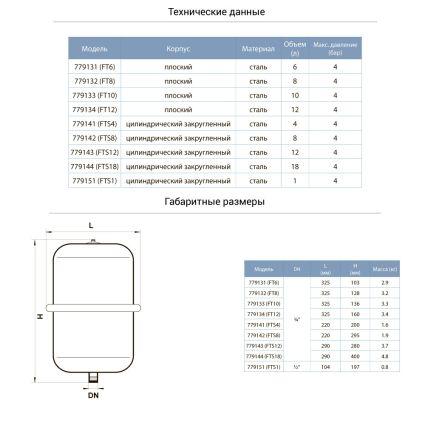 Бак для системи опалення Aquatica 779133 10л плоский - 2