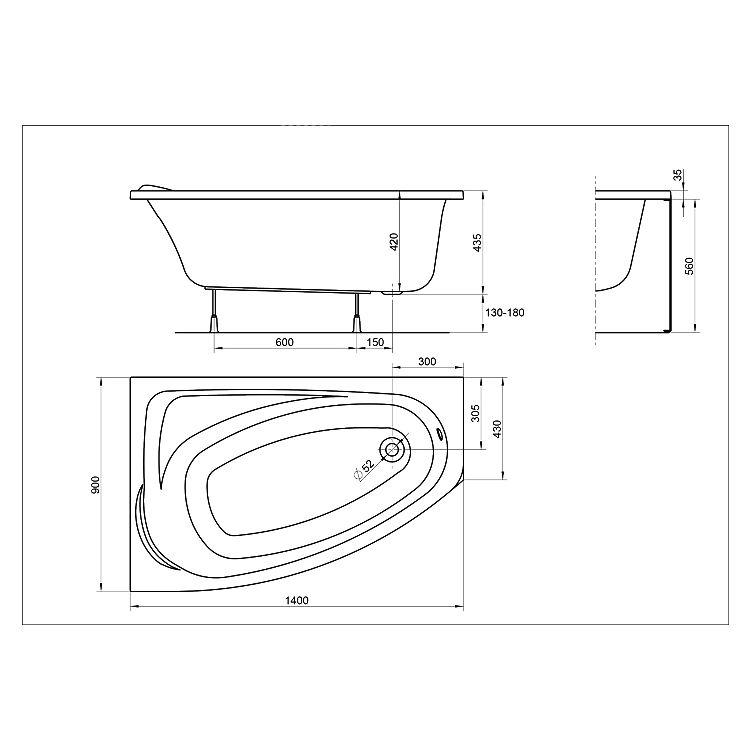 MYSTERY ванна асиметрична 140*90см ліва в комплекті з ніжками SN7 та елементами кріплення - 2