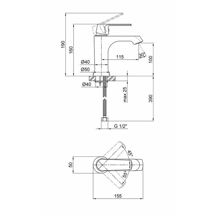 Змішувач для умивальника Q-tap Fresh 001F WCR - 2