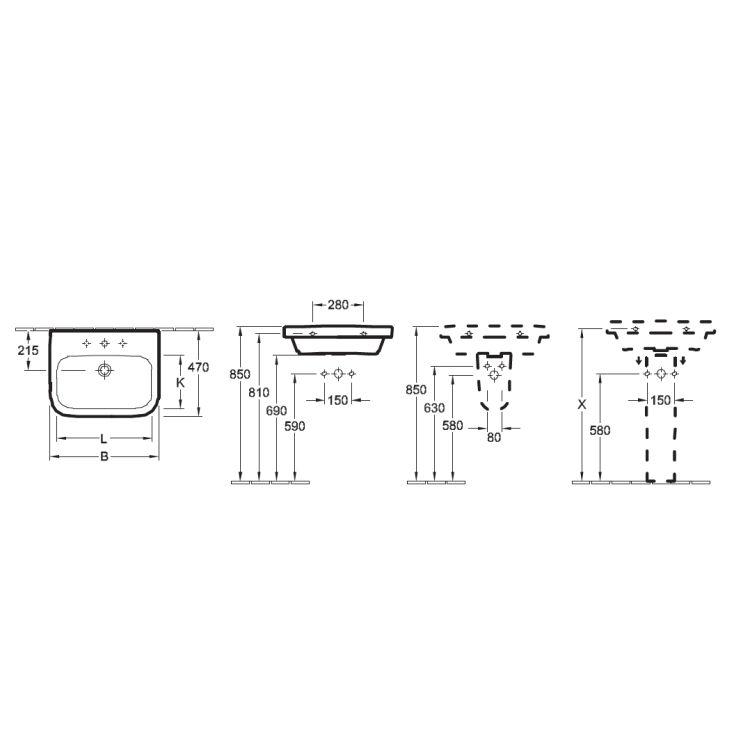 ARCHITECTURA умывальник 60*47см для 3-позиц. смесителя, центральн. отверстие выбито, с переливом, White Alpin - 2