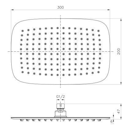 Душ верхний (300х200) мм , сталь IMPRESE S300200SS6 - 2